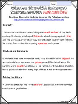 World War II Winston Churchill Internet Scavenger Hunt WebQuest Activity