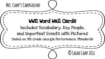 World War II Word Wall/Bulletin Board Cards
