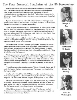 World War 2 Worksheet - The Four Chaplains of the SS Dorchester