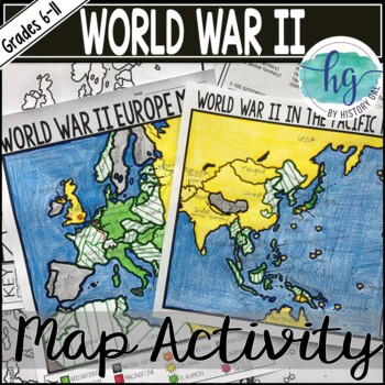 World War II (World War 2) Map Activity by History Gal | TpT