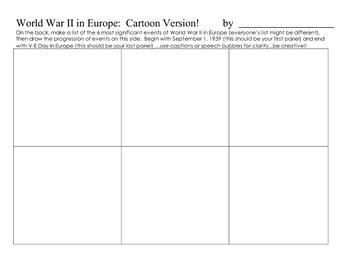 World War II Writing/Graphic Summary Activity-1930s, 1940s