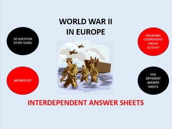World War II in Europe: Interdependent Answer Sheets Activity