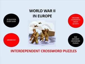 World War II in Europe: Interdependent Crossword Puzzles Activity