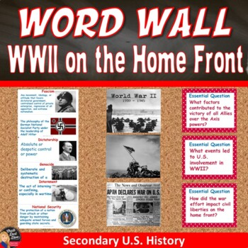 World War II on the Home Front Vocabulary Word Wall Posters (Civics)
