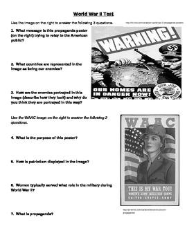 World War II test including questions about propaganda