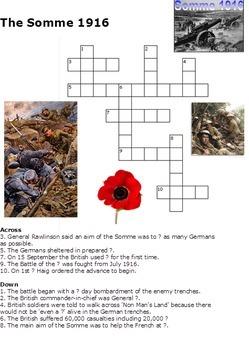 World War One Crossword Pack of 10