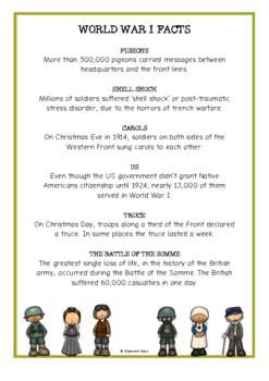 World War One Fact Cards