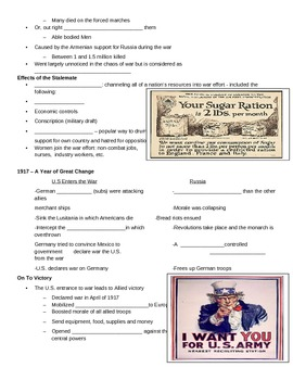 World War One Guided Notes Outline