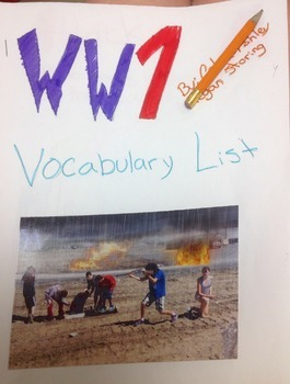 World War One Pictionary Dictionary