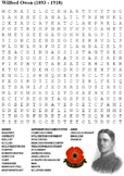 World War One Poetry Word Search Pack