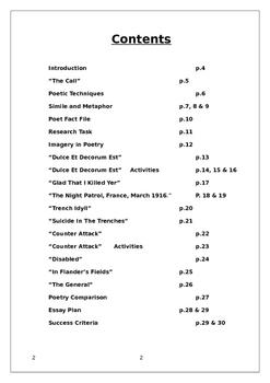 World War One Poetry Workbook