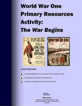 World War One Primary Source Activity: The War Begins