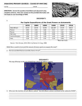 World War One Primary Source DBQ Analysis