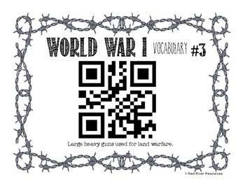 World War One QR Code Vocabulary Hunt - Canadian
