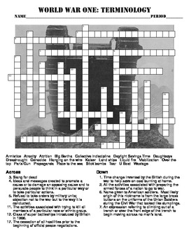 World War One: Terminology Crossword Puzzle