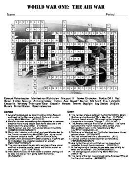 World War One:  The Air War Crossword Puzzle