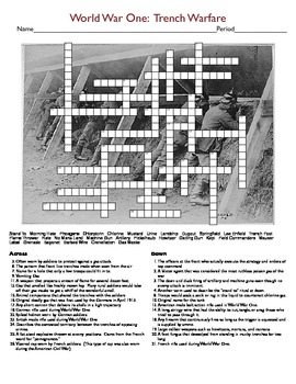 World War One: Trench Warfare Crossword Puzzle