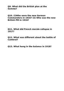 World War One Trench Warfare Questions