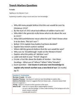 World War One Trench Warfare Questions