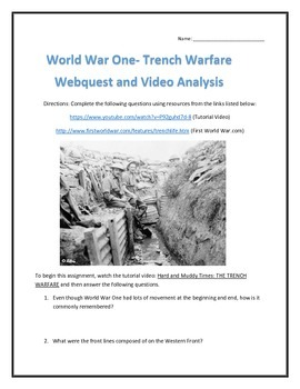 World War One- Trench Warfare Webquest and Video Analysis with Key