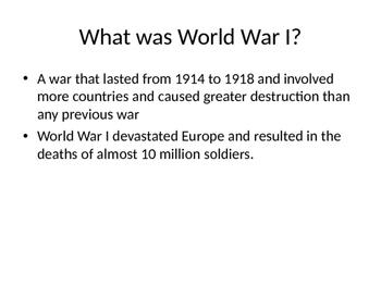 World War One Unit: Alliances, Arch Duke Assasination,  US involvement