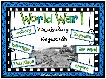 World War One Vocabulary Key Words Cards