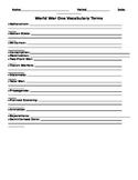 World War One Vocabulary Worksheet and Key