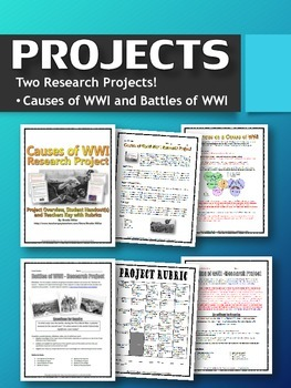 World War One (WWI) - Complete Unit (Projects, PPT's, Webquests, Sources, Test)