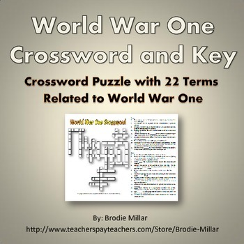 World War One (WWI) - Crossword Puzzle and Key (22 Terms and Clues)