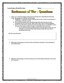 World War One (WWI) Excitement vs. Reality of War - Sources / Critical Reading