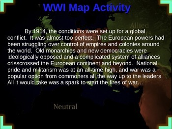 World War One (WWI) Map Activity - Easy, Fun, Engaging, Interactive 22-slide PPT