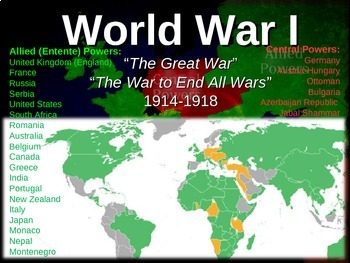 World war one wwi map activity easy fun engaging interactive world war one wwi map activity easy fun engaging interactive 22 slide ppt gumiabroncs Gallery