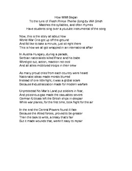World War One WWI Narrative Song - Fresh Prince of Bel Air Theme  Song Parody