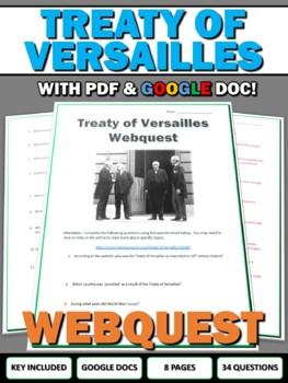 World War One (WWI) Treaty of Versailles - Webquest with Key
