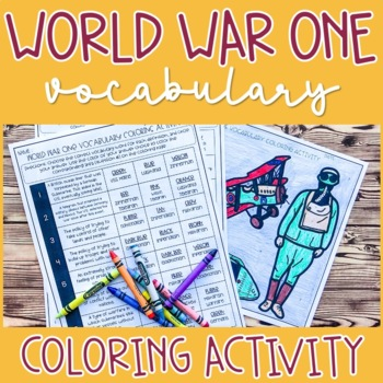 World War One (WWI) Vocabulary Coloring Activity