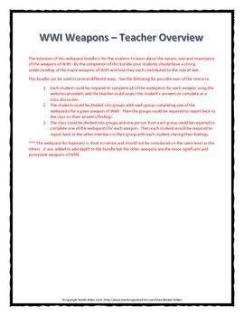 World War One (WWI) Weapons of WWI - Webquest Bundle (Gas, Tanks, etc.)