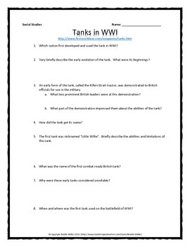 World War One (WWI) Weapons of WWI - Webquest Bundle (Gas, Tanks, etc.)