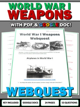 World War One (WWI) Weapons of WWI - Webquest Bundle (Gas,