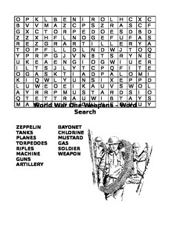 World War One Weapons Word Search