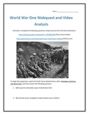 World War One- Webquest and Video Analysis with Key