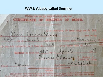World War One Baby called Somme