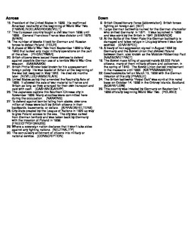 World War Two: 1939 Crossword Puzzle
