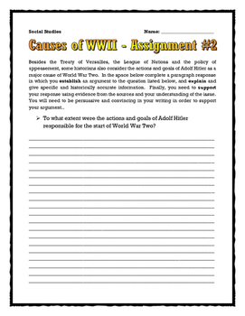 World War Two Causes (Source & Cartoon Analysis / Questions / Assignments) WWII