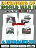 World War Two Dictators (WWII) Webquest Bundle - Hitler, Stalin, Mussolini, Tojo