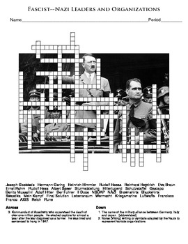 World War Two: Fascist-Nazi Leaders and Organizations Crossword Puzzle