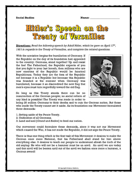 world war two hitler 39 s speech on the treaty of versailles source analysis. Black Bedroom Furniture Sets. Home Design Ideas