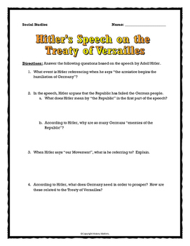 World War Two - Hitler's Speech on the Treaty of Versailles - Source Analysis