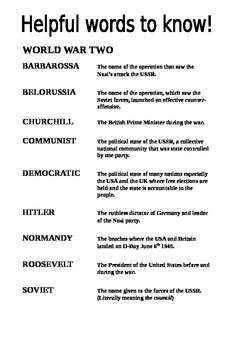 World War Two Key Words