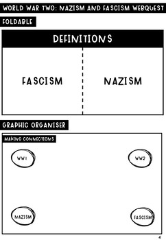 World War Two: Nazism and Facism homework webquest