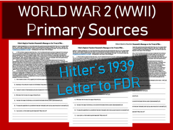 World War Two Primary Source with questions: Hitler's 1939 letter to FDR